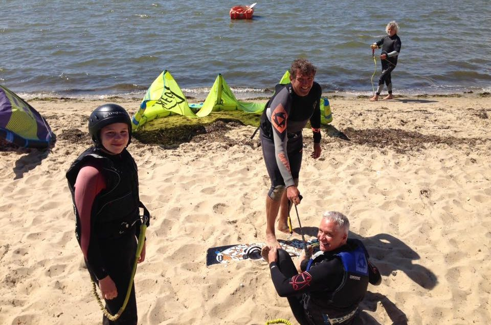 Preparing for Kitesurf Board Starts at Poole Harbour